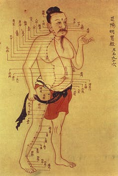 Man with meridians drawn on
