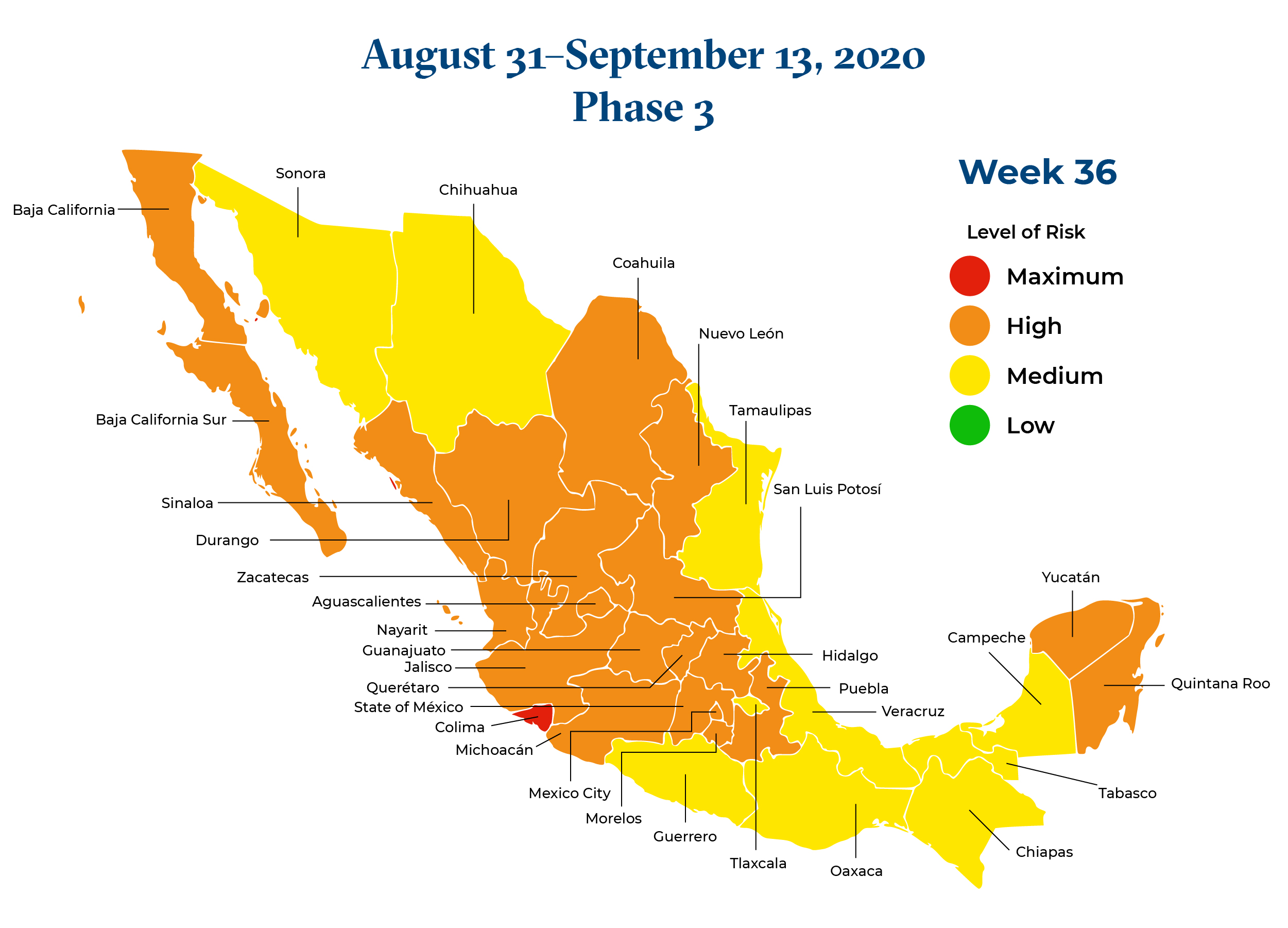 Mexico August 31 2020 to September 13 2020 Phase 3 Map