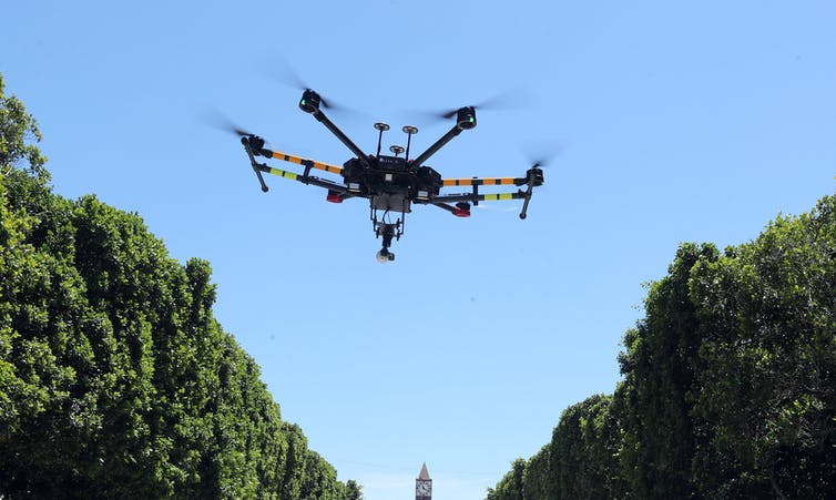 A drone in Tunisia equipped with a heat sensor, for screening the public.