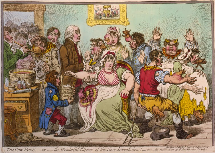 An anti-vaccination caricature from 1802.