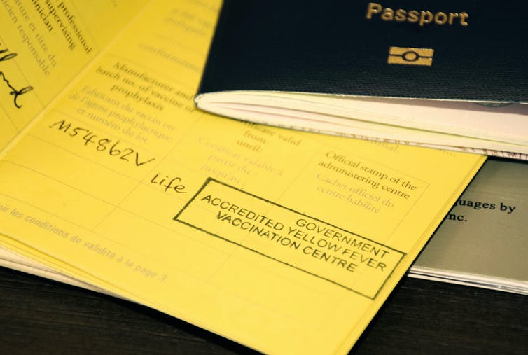 A passport and a yellow fever certificate
