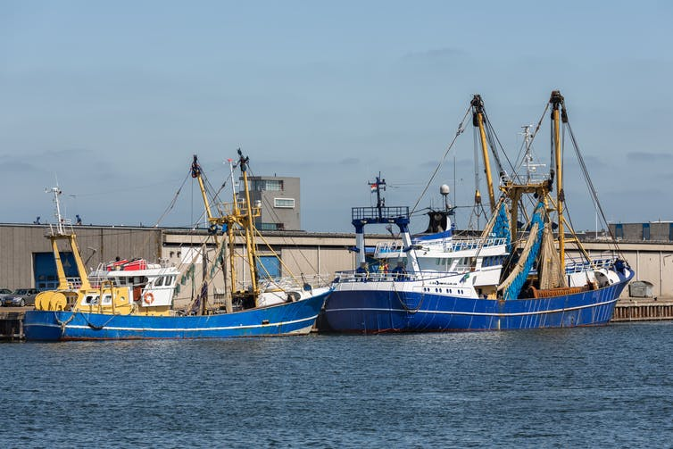 Two fishing boats docked next to a warehouse.