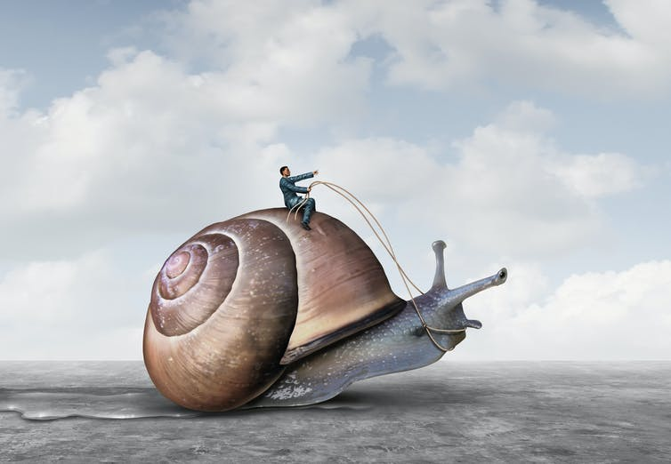 A computer generated image of a man riding a snail.