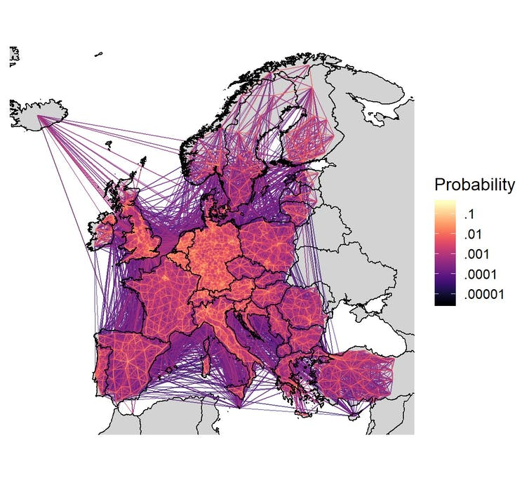 A figure showing relative population movement patterns around Europe based on smartphone data.
