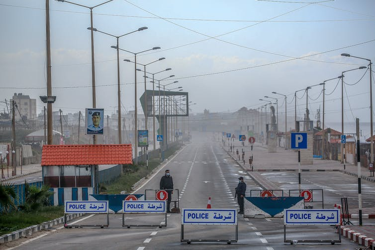 A police checkpoint in Gaza City.